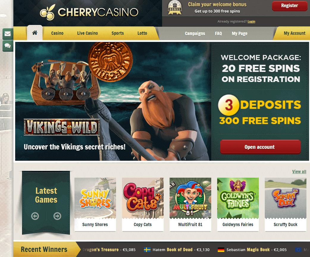 Cherry casino ger dig free spins och bonusar