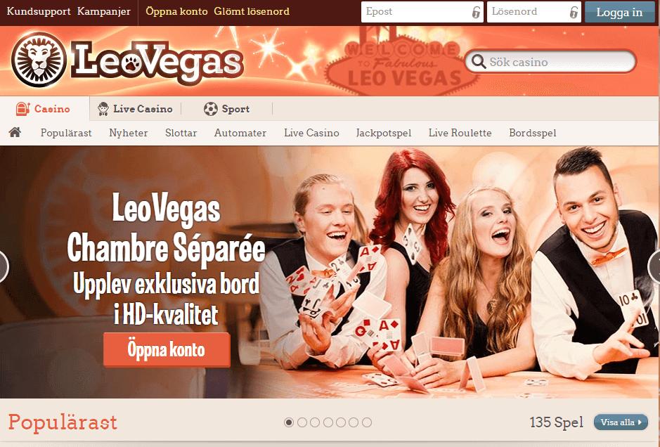 Leo vegas har odds, casino och live casino