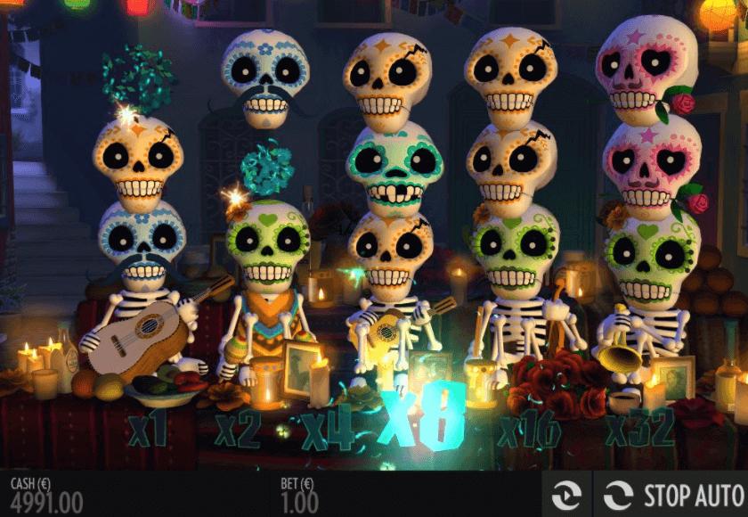 Esqueleto Explosivo är dödskalle sloten med läskigt med vinstlinjer